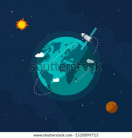 Earth in outer space vector illustration, flat cartoon satellite space ship flying around planet world on solar system universe, moon, stars, orbit station flight in cosmos or universe