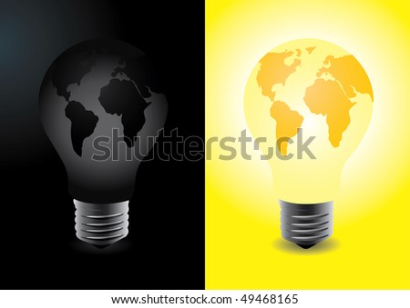 Earth in the shape of bulb, one lit and one off