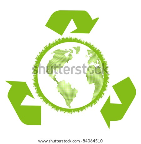 Earth inside ecology recycling sign vector background concept