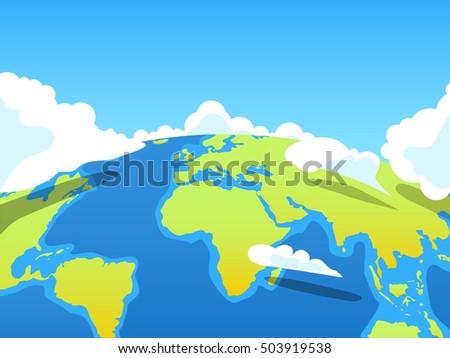 earth landscape in cartoon