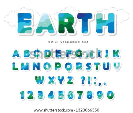Earth landscape modern font. Paper cut out ABC letters and numbers isolated on white. Creative alphabet for environment, ecology, travel design. Vector illustration