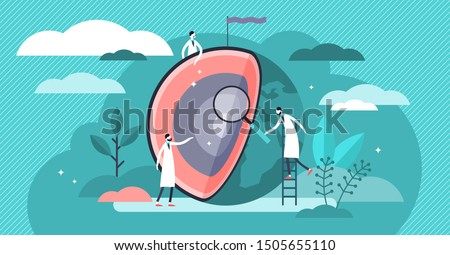 Earth layers vector illustration. Flat tiny globe research person concept. Abstract core, mantle, crust and lithosphere geological examination and inner section structure exploration with planet model Сток-фото ©