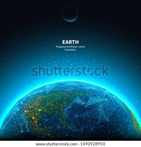 Earth low poly art illustration. 3d polygonal planet. Astronomy concept with connected dots and lines. Universe space. Cosmos exploring. Solar system body vector color wireframe mesh