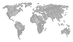 Earth map collage created of yuan renminbi pictograms. Vector yuan renminbi pictograms are composed into geometric continental composition.