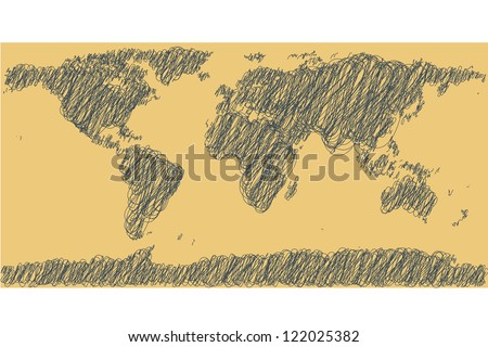 Earth map. Hand-drawn