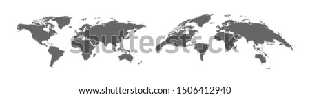Earth map with 3d Earth map. Panorama view. Simple template earth map. Vector illustration