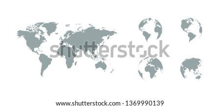 Earth map with earth globes. Earth Globes icons. World map. Earth in flat design. Eps10