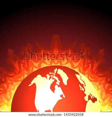 earth on fire flat vector