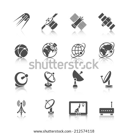 Earth orbit space station and satellite dish digital receiver communication icons set black abstract isolated vector illustration