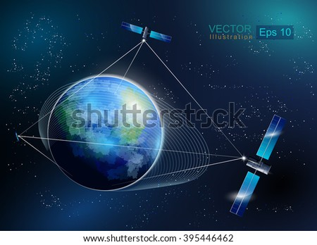 Earth orbit with satellite. Satellite connection. World global net.