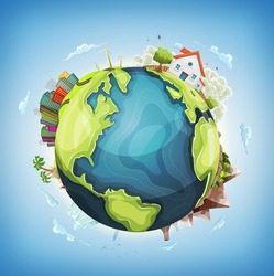 Earth Planet Background With House and Nature Illustration of a cartoon design earth planet globe with architecture and environment elements, house, city, mountains, volcano, windmills, lighthouse