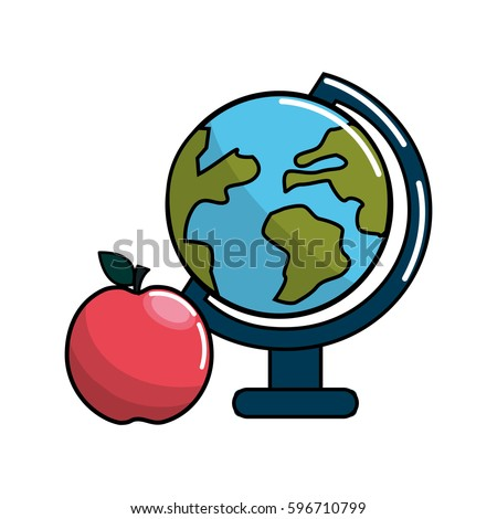 earth planet desk and apple icon