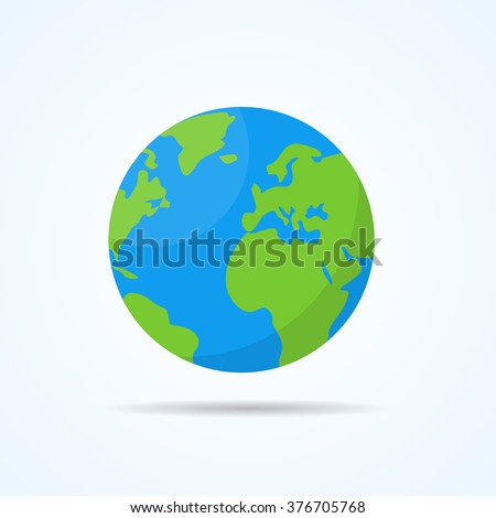 Earth planet. Flat style vector illustration.