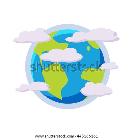 earth planet in the clouds icon ...