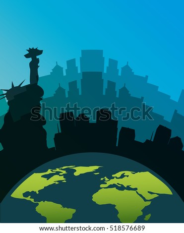earth planet over silhouette of