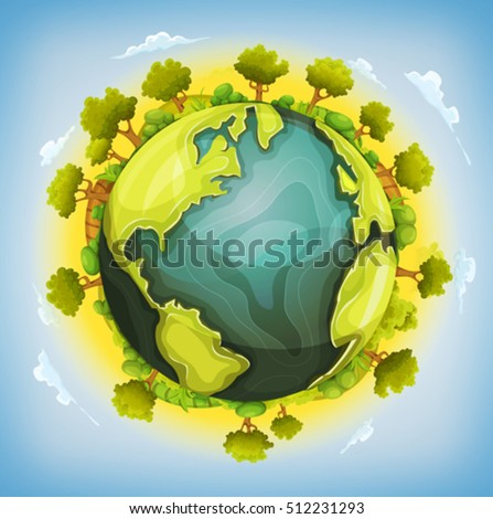 earth planet with forest and