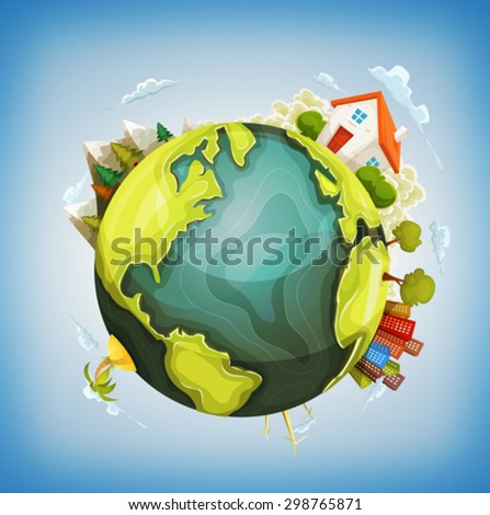 Earth Planet With Home, Nature And City Around/ Illustration of a cartoon design earth planet globe with environment elements around, house, mountains, windmills, cityscape and ocean