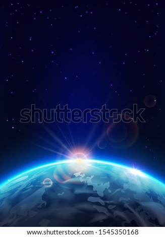 earth planet with sun in space