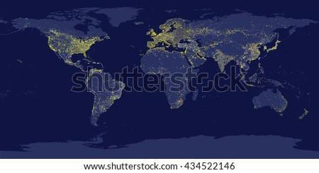 earth's city lights map with