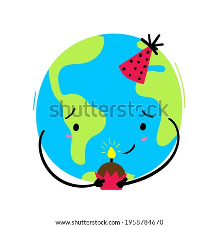Earth's Day Hand Lettering with birthday earth hand draw. Vector. Stock fotó ©