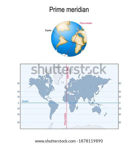 Earth's Equator, and Prime meridian on a globe. map with parallels, longitude and latitude. Geographic coordinate system Stockfoto ©