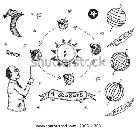 Earth Science And Solar System Set/ Illustration of a set of doodle hand drawn earth science icons, with planets, moon and seasons symbols