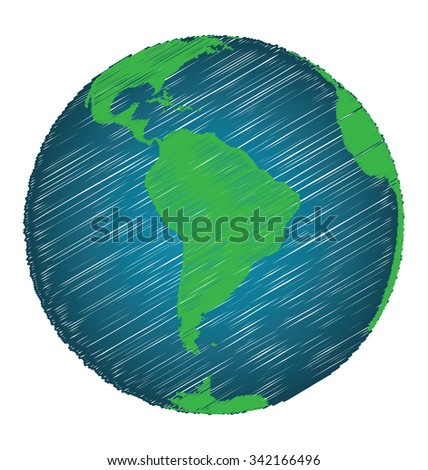 Earth Sketch Hand Draw Focus South America Continent ...