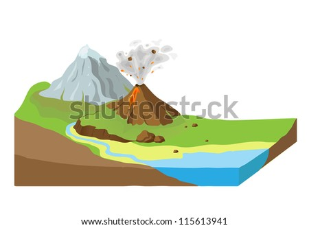 Earth slice with landscape, vector illustration