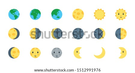 Earth, Sun and Moon Icons Vector Emoji Set. All Type of Moon Light. Planet Symbols. Moon Surface. Crescent Moon.