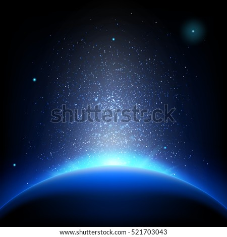 earth   sunrise in deep blue
