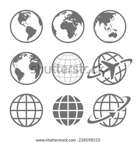 earth vector globe icon set