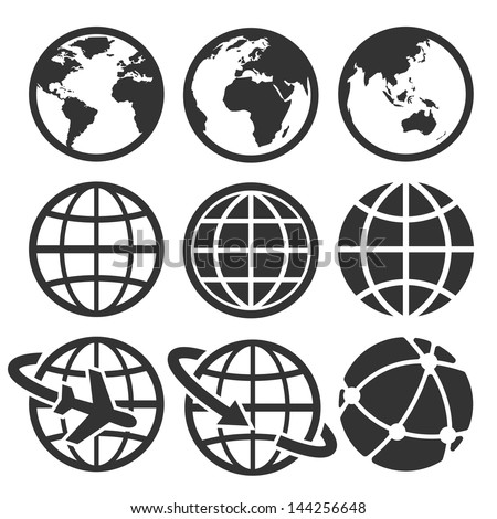 earth vector icons set....