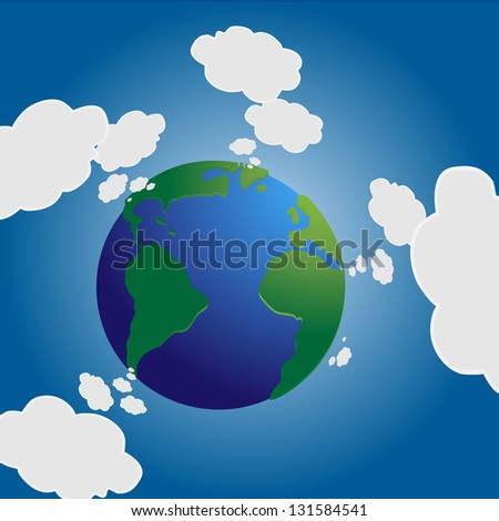 Earth vector with cloud