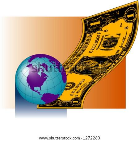 Earth with Dollar Bill