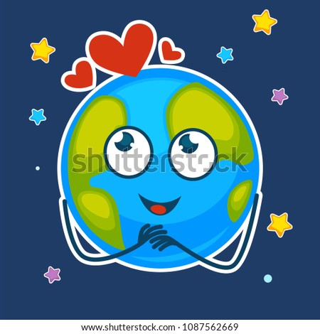 earth with dreamy face and