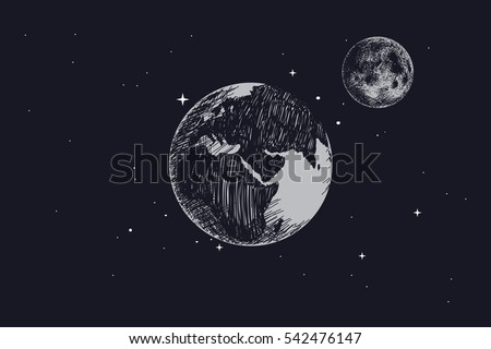 earth with full moon in outer