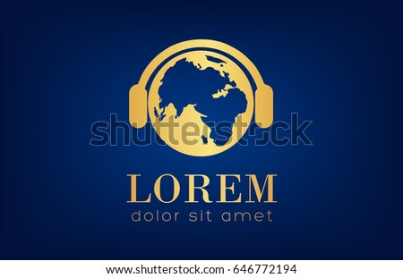 earth with headphones logo