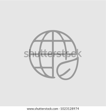 Earth with leaf vector icon eps 10. Eco globe simple isolated illustration.