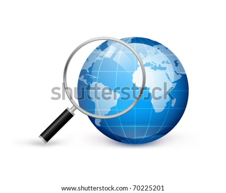 earth with magnifying glass on