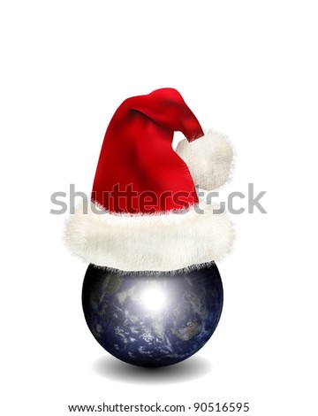 Earth with Santa Claus's Hat