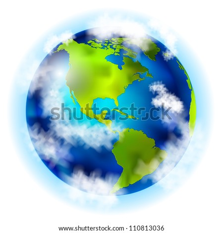 earth with south and north america vector - stock vector