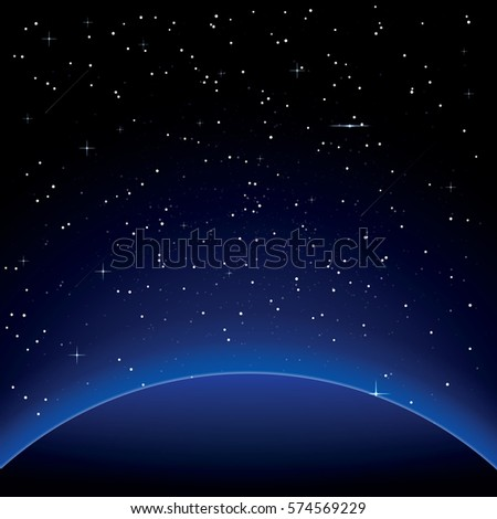 Stock Photo Earth with Stars. Space. Vector Illustration.