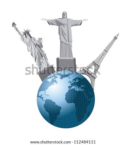earth with statues isolated over white background. vector