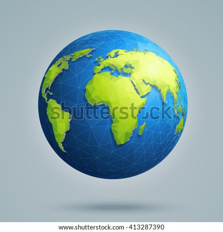 earth  world map polygonal 3d