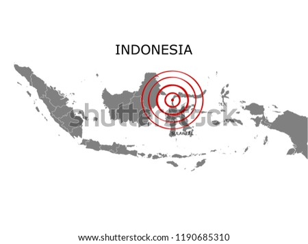 Earthquake and tsunami in Sulawesi, Indonesia with circle affected area illustration vector