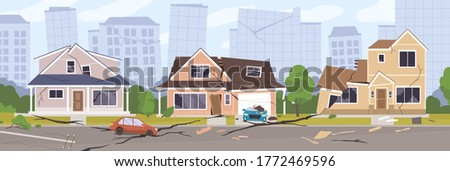 Earthquake city panorama vector illustration. Damaged house, cars and holes in ground. Destruction cityscape with cracks and damages on buildings. Destroyed town landscape after quake or disaster
