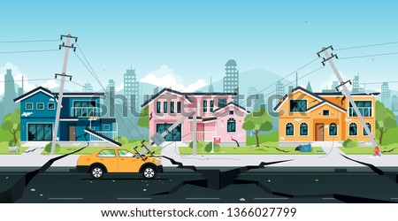 Earthquake damage to houses and electric poles collided with cars.