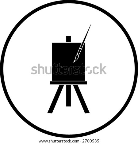 easel canvas and brush symbol