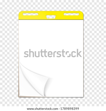 Easel pad on transparent background, vector template. Flip chart sticky blank white paper block with page curl, realistic mock-up.