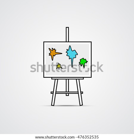 Easel  with Blots- Linear Icon, Art Symbol. Vector Illustration